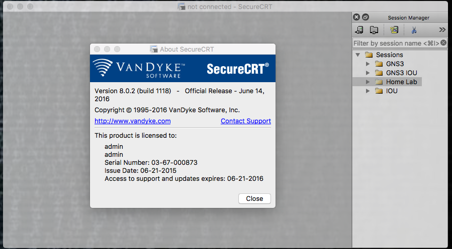 SecureCRT/FX 8.0.2 (build 1118) for Mac