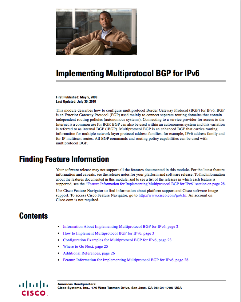 Implementing Multiprotocol BGP for IPv6