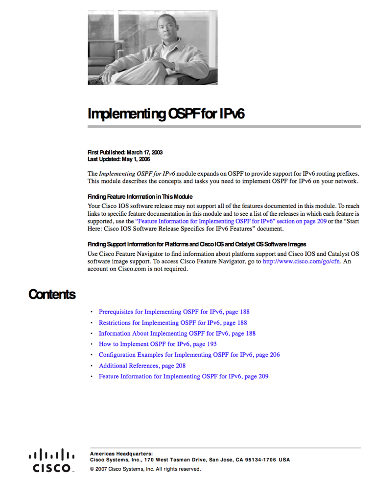 Implementing OSPF for IPv6