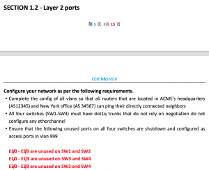 CCIE RS V5.0 LAB1 Section 1.2 Layer 2 ports