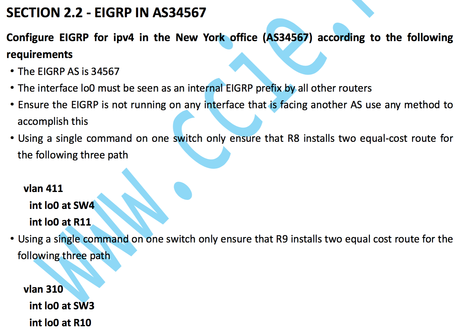 CCIE RS V5考试LAB1实验详解:Section 2.2 EIGRP in AS34567