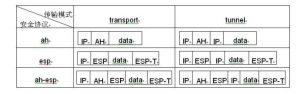 IPSec的两种工作模式及其报文封装格式