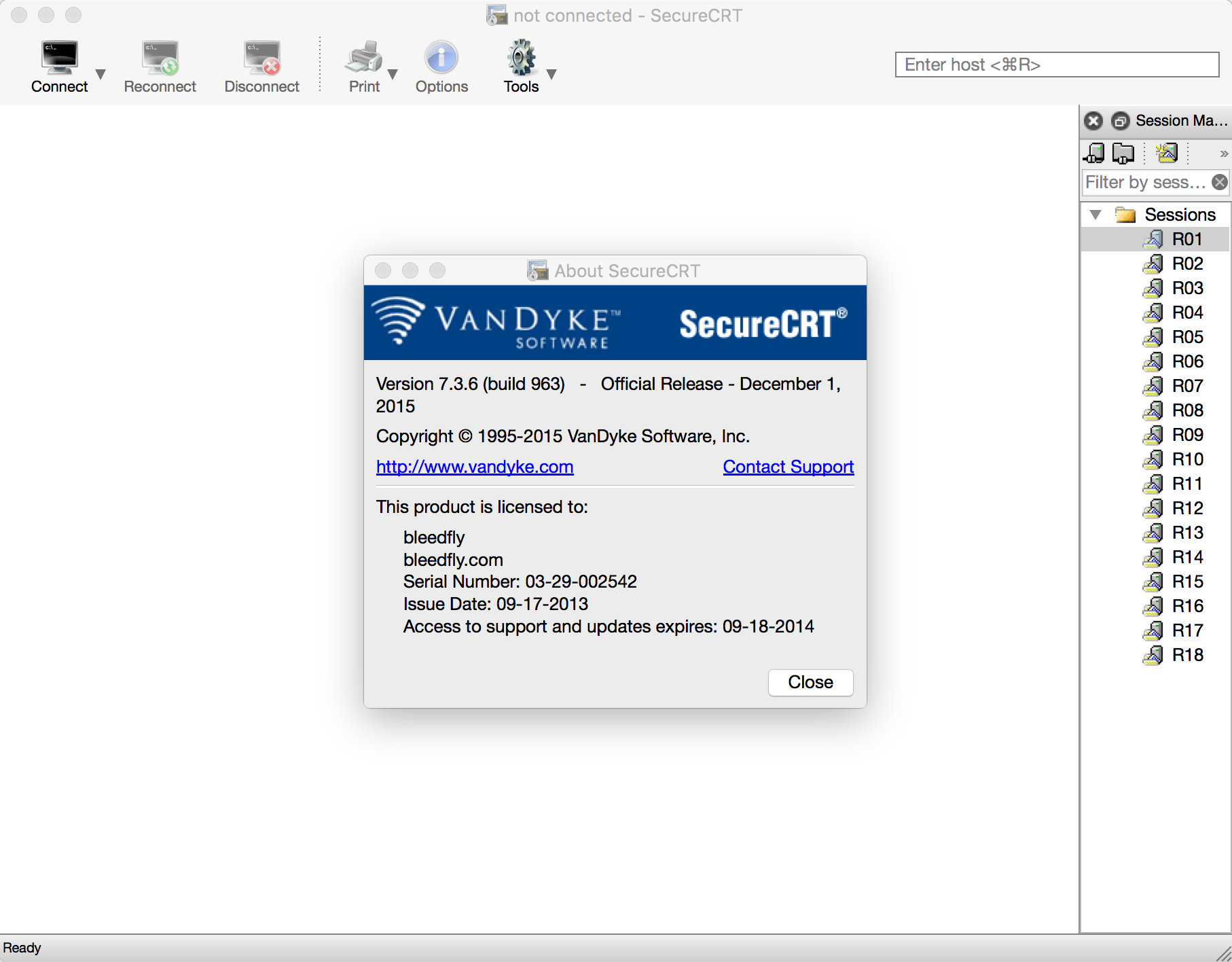 SecureCRT/FX 7.3.6(build 963) for Mac