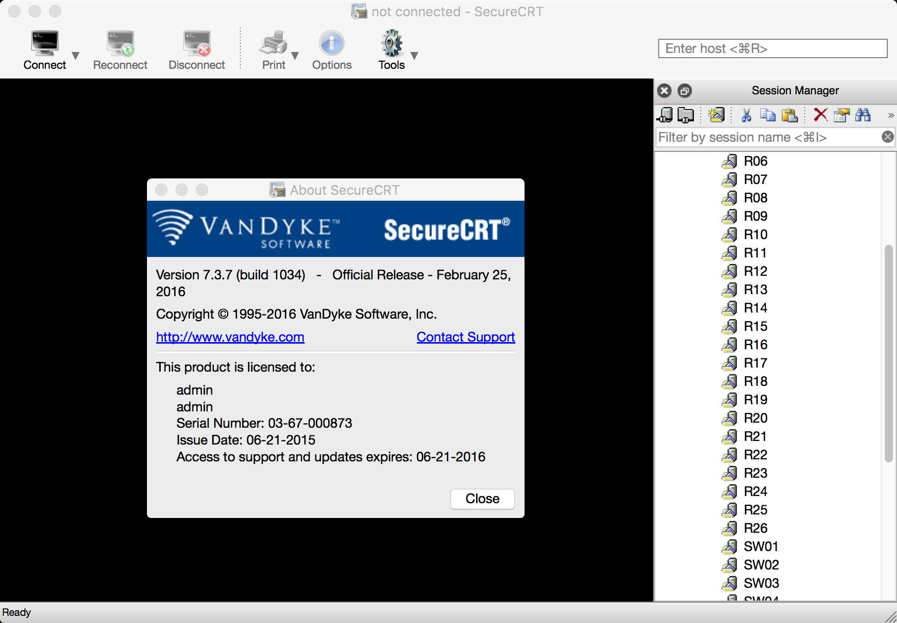 SecureCRT/FX 7.3.7(build 1034) for Mac