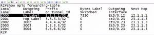 R2上通过show mpls forwarding-table命令来查看LFIB
