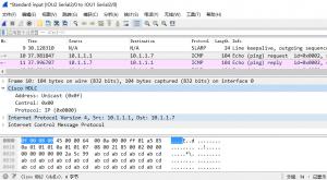 在 IOU1 上 ping 10.1.1.7 时,IOU2 的 s 2/0 口上的抓包