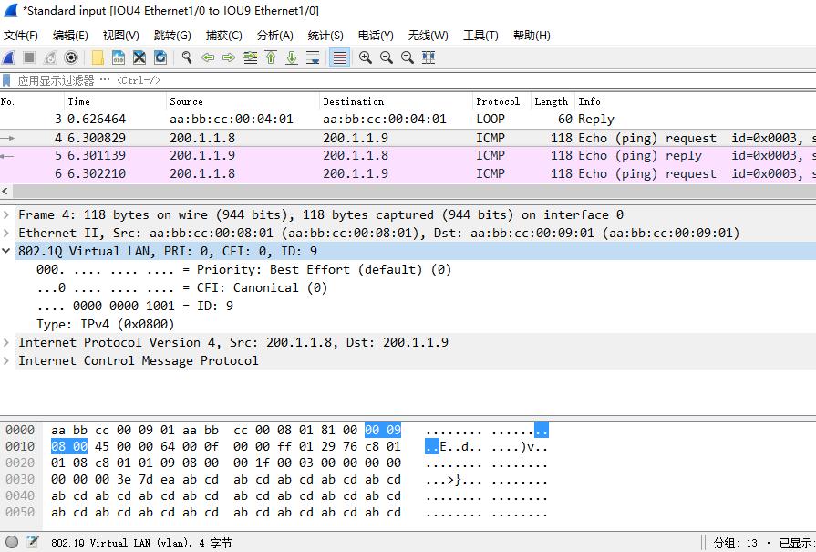 在 IOU8 上 ping 200.1.1.9 时,IOU4 的 e 1/0 口上的抓包