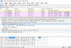 在 IOU1 上 ping 10.1.1.7 时,IOU4 的 e 0/3 口上的抓包
