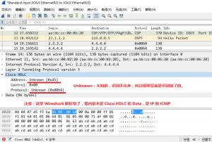 在 IOU6 上 ping 100.1.1.5 时,IOU3 的 e 0/2 口上的抓包