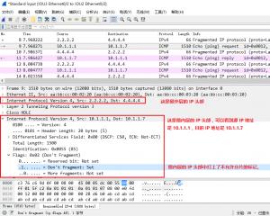 最内层的 IP 三层头部是打了不允许分片的标记的