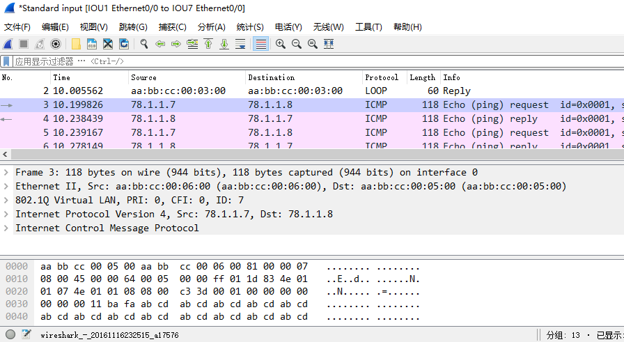 在IOU7上ping 78.1.1.8时,IOU1的e 0/0口上的抓包