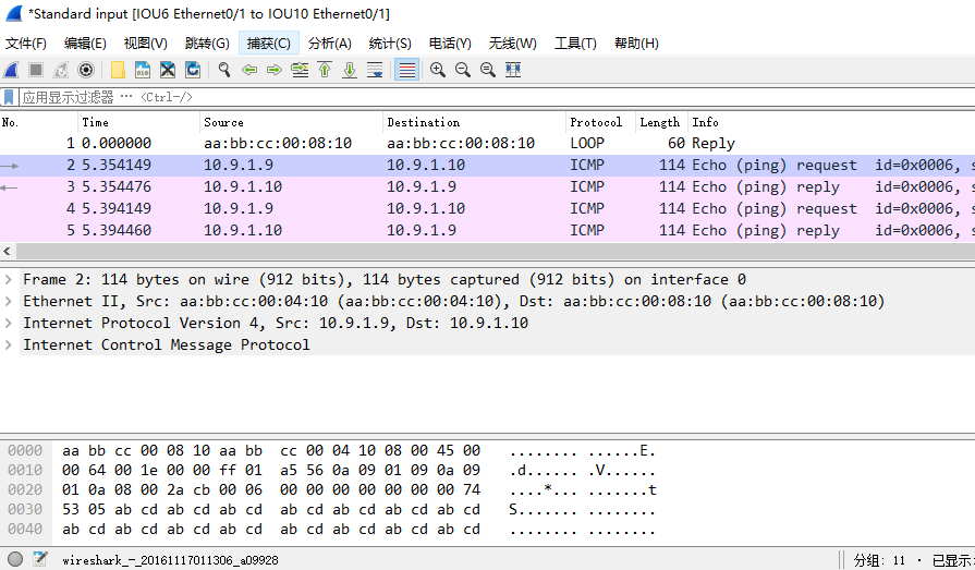 在IOU9上ping 10.9.1.10时,IOU6的e 0/1口上的抓包