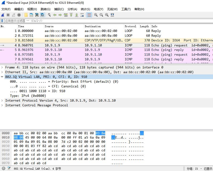 在IOU9上ping 10.9.1.10时,IOU4的e 0/0口上的抓包