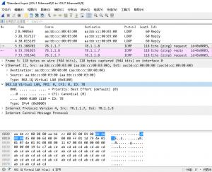 IOU7上ping 78.1.1.8,IOU1的e 0/0口上的抓包