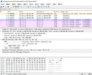 IOU7上ping 78.1.1.8,IOU4的e 0/0口上的抓包