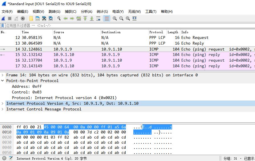 在IOU9上ping 10.9.1.10时,IOU1的s 2/0口上的抓包