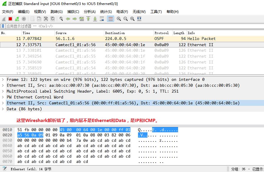 在IOU9上ping 10.9.1.10时,IOU6的e 0/3口上的抓包