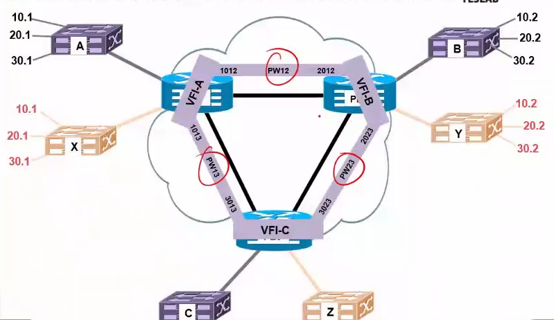 举个VPLS的例子,建立VFI和伪线