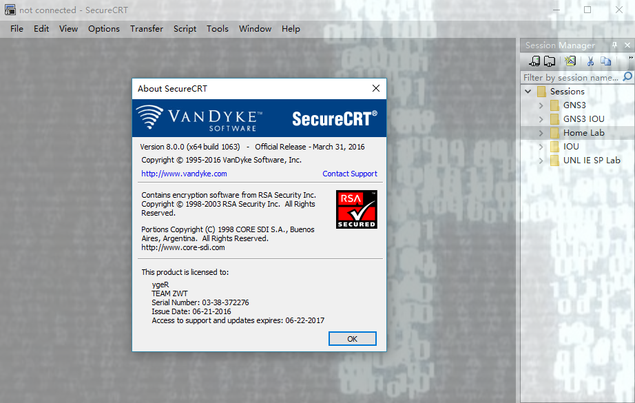 SecureCRT/FX 8.0.0 (build 1063) for Windows