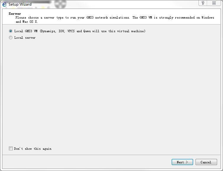"""选中 """" Local GNS3 VM """",再点击 """" Next > """" 按钮"""