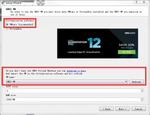 """选择 VMware,再选择 GNS3 VM,接着点击 """" Next > """" 按钮"""