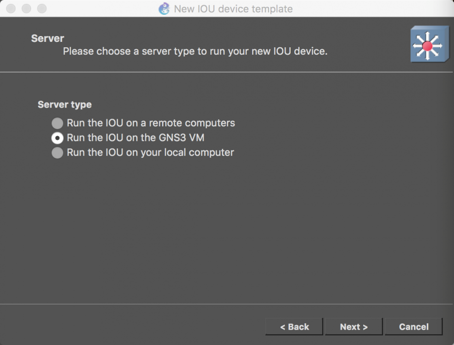 再选择 Run the IOU on the GNS3 VM(从 GNS3 VM 运行 IOU)