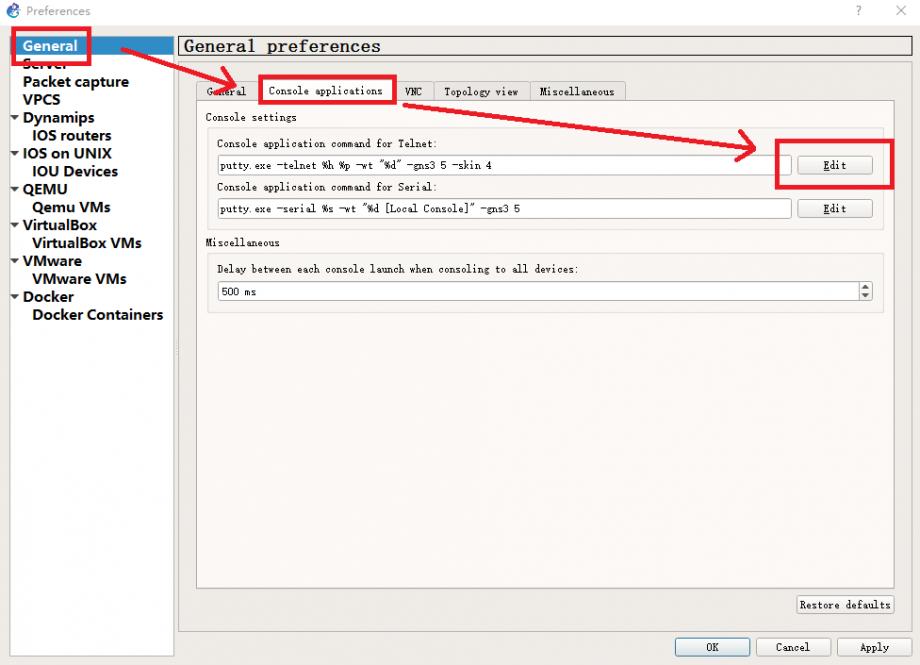 进入 GNS3 关于 Console applications 的设置界面