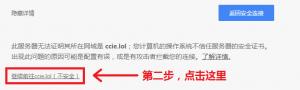 """这是 Chrome 浏览器的警告,先点击 """" 高级 """",再点击 """" 继续前往 ccie.lol(不安全)"""" 即可"""