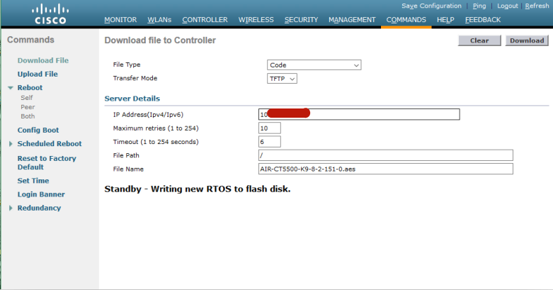 Active WLC 会通过冗余端口将上传镜像同步给 Standby WLC(4)