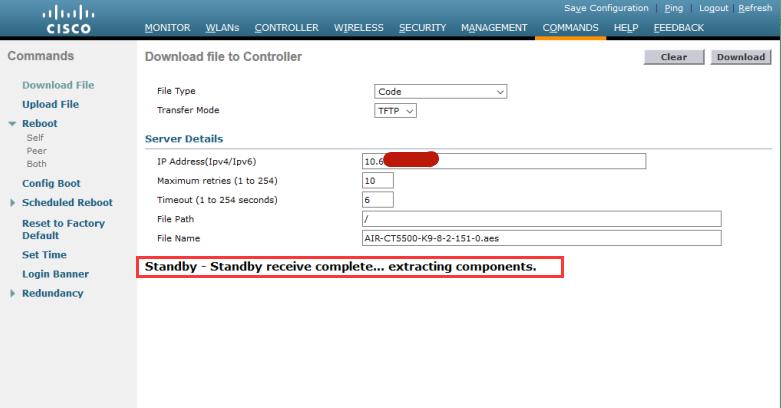Active WLC 会通过冗余端口将上传镜像同步给 Standby WLC