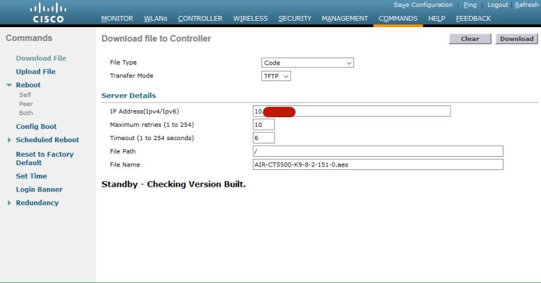 Active WLC 会通过冗余端口将上传镜像同步给 Standby WLC(2)