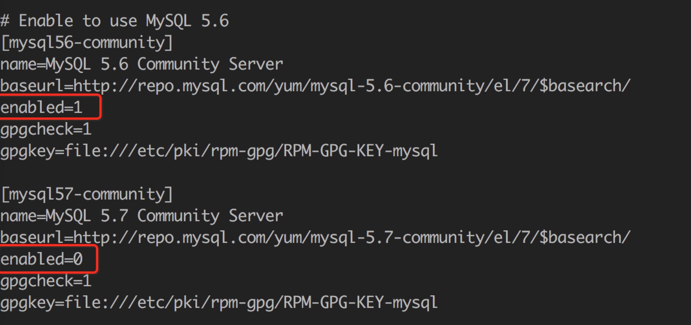 修改 MySQL yum 源的配置文件