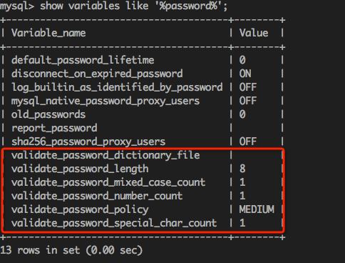 通过 MySQL 环境变量可以查看密码策略的相关信息