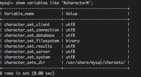 查看数据库默认编码