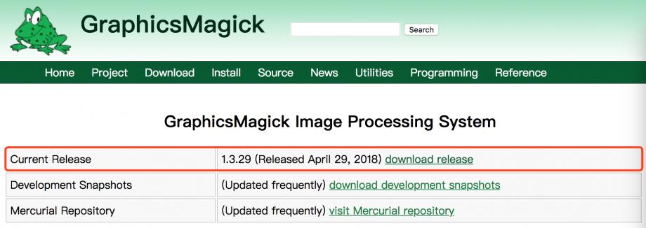 下载最新版的 GraphicsMagick