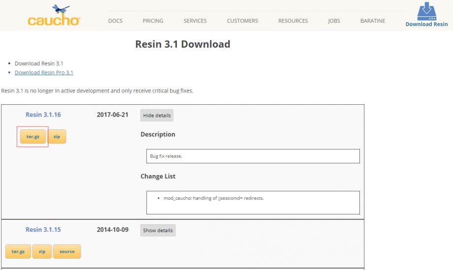 下载最新版的 Resin 3.1.x