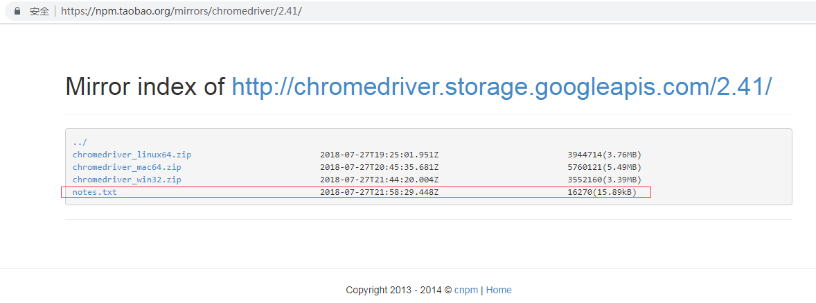 查看 chromedriver.exe 的 notes.txt