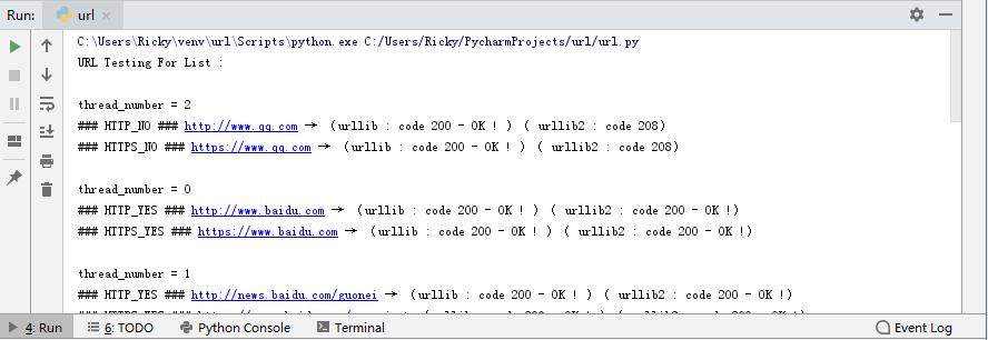 用不到 200 行的 Python 代码编写一个批量检测 URL 是否可以访问的脚本(2) – 示例