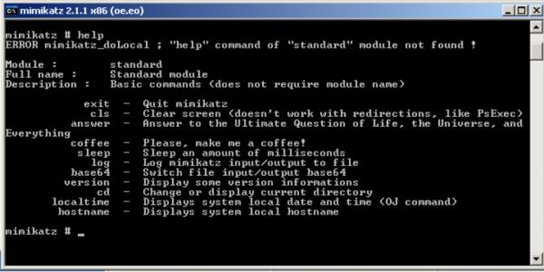 密码提取工具 mimikatz 使用界面
