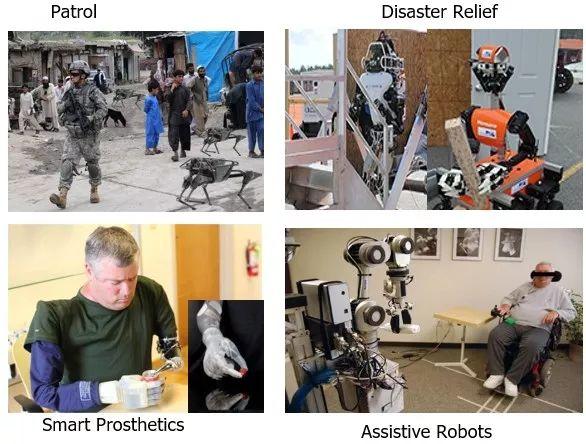 智能机器人的应用:Patrol(巡逻)、Disaster Relief(救灾)、Smart Prosthetics(智能假肢)、Assistive Robots(辅助机器人)