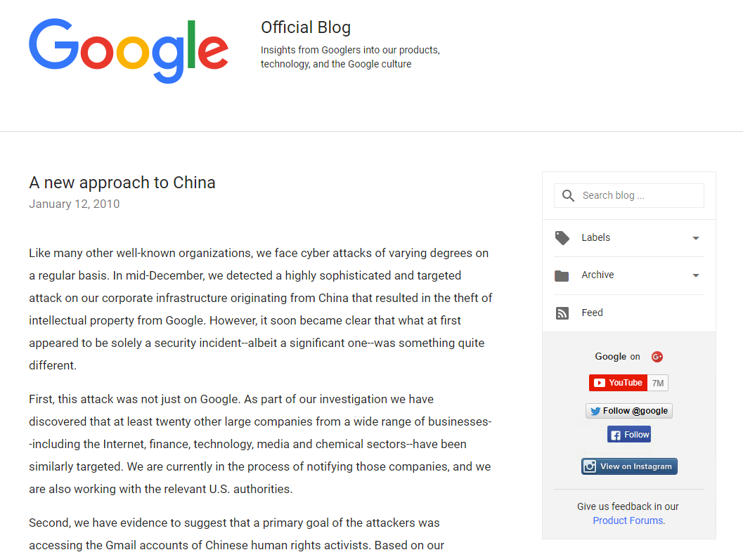 Google Official Blog :A new approach to China