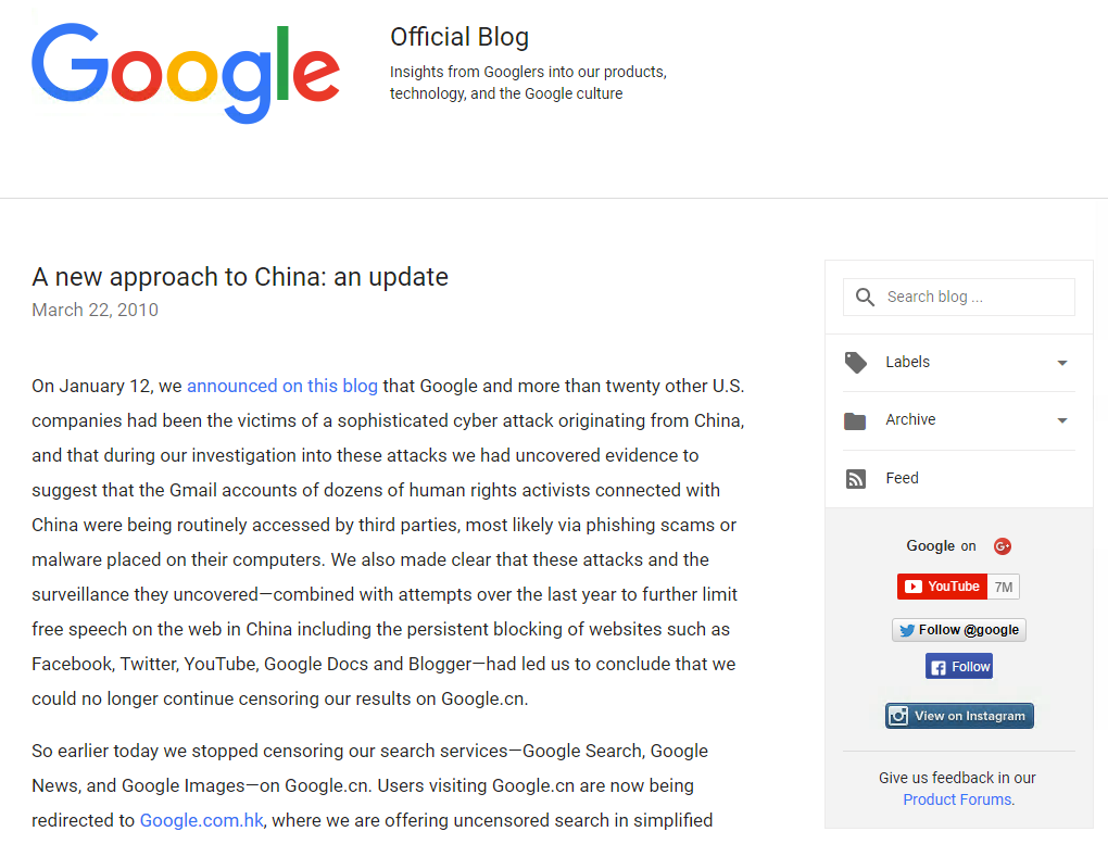 Google Official Blog : A new approach to China : an update