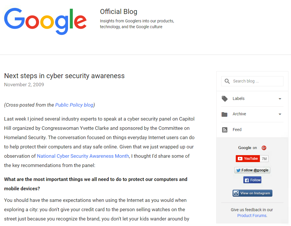 Google Official Blog : Next steps in cyber security awareness