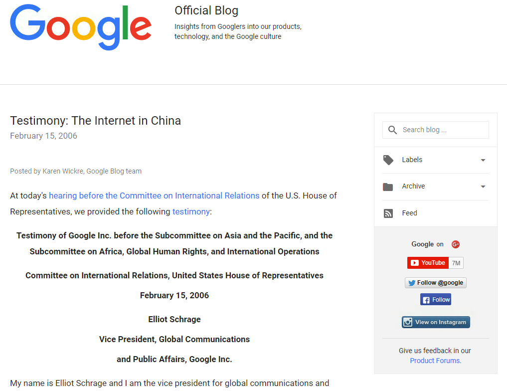 Google Official Blog : Testimony : The Internet in China