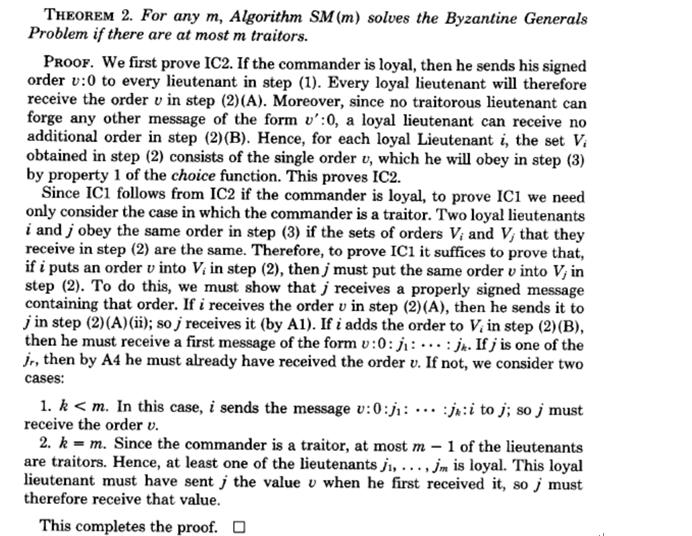 图 14 :Lamport 在论文中对书面协议算法的证明