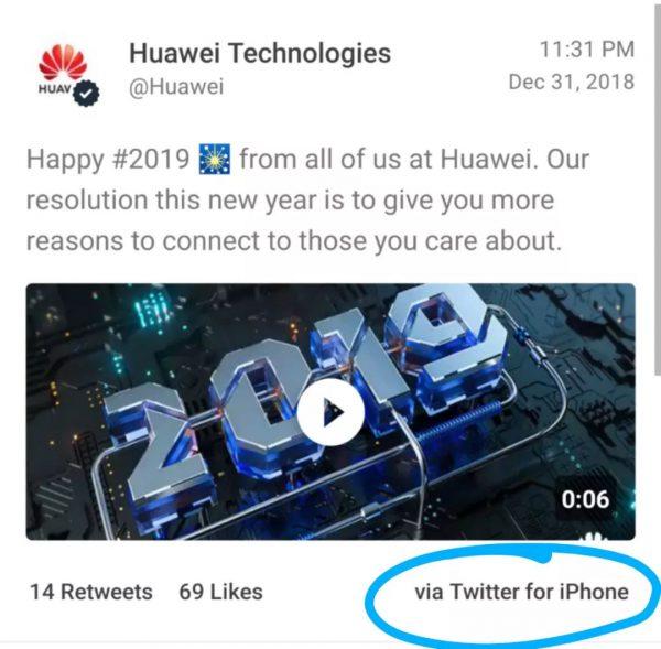 2018 年 12 月 31 日华为官方推特用 iPhone 发新年祝福