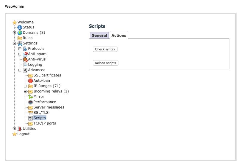 hMailServer - Scripts - Actions