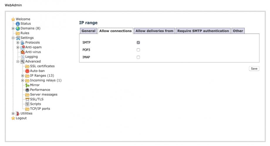 hMailServer - IP range - Allow connections